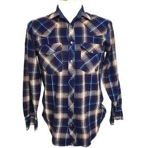 Vintage Mens Sears Roebuck Blue Plaid Flannel M
